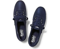 See Keds Shoes for women! Find canvas shoes and tennis shoes on the Official Keds Site. Choose colors and sizes as you browse our full collection of Keds women's shoes. Navy Blue Sneakers, Navy Blue Shoes, Lace Sneakers, Shiny Shoes, Metallic Shoes, Metallic Blue, Keds Shoes, On Shoes, Shoes Tennis
