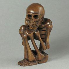 Boxwood Wood Netsuke SKULL Figurine Carving