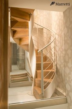 Circular staircase with only one helix-shaped inner side structure in stainless steel, with exclusively-designed petal-shaped steps, in ultra-clear tempered triple layer glass, also available […] Staircase Railing Design, Spiral Staircase, Staircases, Steel Stairs, Loft Stairs, Stairs Architecture, Interior Architecture, Luminaire Original, Master Room