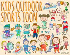 18 KIDS SPORT OUTDOOR #clipart for #creative commercial use #vector and #graphicdesign #design