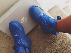 shoes royal blue nike nike air force 1 blue sneakers af1 nikeairforce1 uptowns