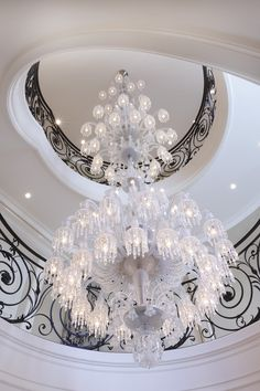 Stunning Baccarat Chandelier in the crystal room!