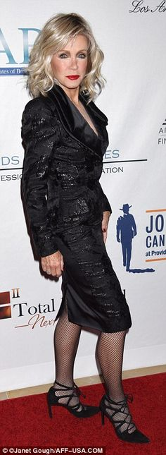 Nov 2016 Chic: While Joy actress Donna Mills 75 opted for a coordinating black skirt suit that feature...