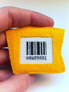 Handmade felt brooch cross stitch by Gluckhandmade on Etsy, $11.50
