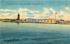 Portsmouth New Hampshire NH 1940s Fort Constitution Lighthouse Vintage Postcard Portsmouth New Hampshire NH 1940s Fort Constitution and Lighthouse from the harbor. Unused Tichnor collectible antique v