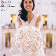 This is for a Custom made Vintage Inspired Jeweled Wedding Bouquet - $595 *** Full Price is $595with Matching Grooms Boutonniere **** - Deposit to Place Your Order is $395.00, Balance @ Completion is $200  This bouquet is custom designed and made with Soft ivory Colors with a touch of Pale Blush Pink added with all G