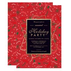 Gold red floral winter corporate Christmas Card - invitations custom unique diy personalize occasions