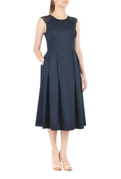 , back zip dresses, cotton dresses, day-to-evening, Deep Navy Dresses, jewel neck dresses, lighter mid-weight dresses, machine wash dresses, short length dresses, sleeveless dresses, woven poplin dresses