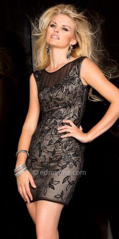 Embellished Lace Overlay Cocktail Dress by Scala #edressme