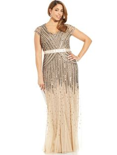 Adrianna Papell Plus Size Cap-Sleeve Beaded Sequined Gown - Plus Size Formal Dresses - SLP - Macy's Plus Size Flapper Dress, Plus Size Sequin Dresses, Plus Size Gowns, Plus Size Skirts, Plus Size Outfits, Beaded Dresses, Nice Dresses, Dresses With Sleeves, Cap Sleeves