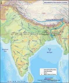 Brahmaputra River Map showing the course or the route of the river