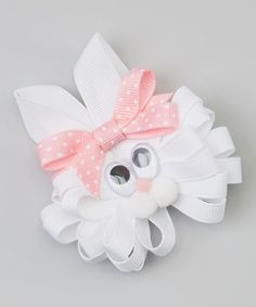 White & Light Pink Polka Dot Bunny Clip   Daily deals for moms, babies and kids