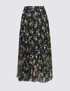 8cec1075a3 Falda a media pierna de corte en A plisada con estampado floral