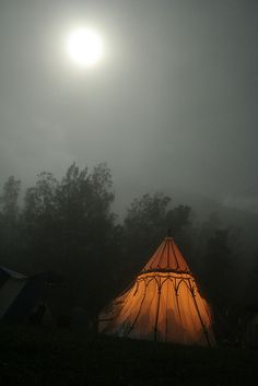 | Beautiful Golden lit Tent Under the Full Moon | Now, If I had a tent like this! I would CAMP!