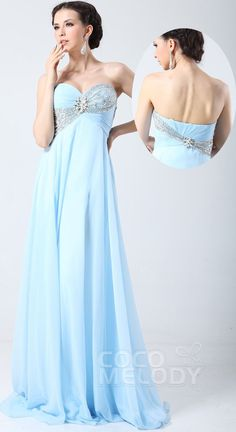$159. Chiffon strapless #promdress with crystal. #cocomelody
