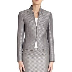 Akris Punto Diamond Silk Jacket (3,145 PEN) ❤ liked on Polyvore featuring outerwear, jackets, apparel & accessories, silver, stand collar jacket, akris punto jacket, diamond jackets, akris punto and lined jacket