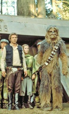 Harrison Ford as Han Solo with Chewbacca in Return of the Jedi 1983