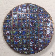 Antique Colorful Champleve Spatter Enamel Button With Grid Pattern