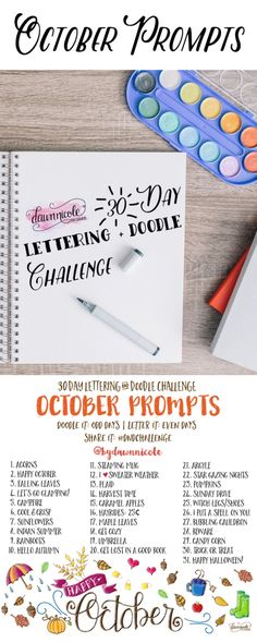 30 Day Challenge: October Prompts - New sites Doodle Lettering, Creative Lettering, Brush Lettering, Art Prompts, Journal Prompts, Journals, Drawing Challenge, 30 Day Challenge, Classe D'art