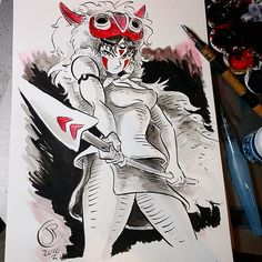 Just about time for #inktober #2 my all time crush #san the #mononoke #princess from #miyazaki #mononokehime #inktober2016 #anime #classic #pinup #illustration #art #fanart #doodle #drawing #painting #ink #manga #cosplay #ghibli #wolf
