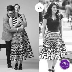 a0c9517be8 Yeah Kajol is wearing the same monochrome patterned DKNY skirt on the sets  of the Dilwale