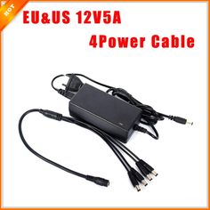 11.04$  Buy here - http://ali78e.shopchina.info/go.php?t=32789604208 - Free Shipping EU & US Cord CCTV Power Supply Cable & CCTV Camera 12V 5A 3A 1 Split 4 Power Adapter for Security System 11.04$ #SHOPPING
