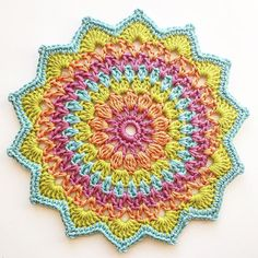 Had to try this little gem in my soul colors. Pattern cred to Had to try this little gem in my soul colors. Pattern cred to Crochet Home, Crochet Crafts, Crochet Yarn, Crochet Stitches, Crochet Projects, Crochet Afghans, Crochet Blankets, Free Crochet, Crochet Mandala Pattern