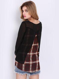 Black Long Sleeve Contrast Plaid T-Shirt