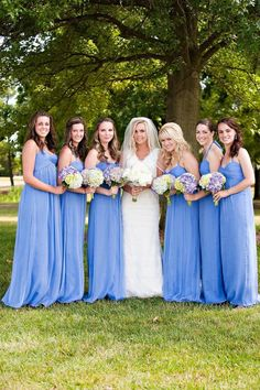Gorgeous blue bridesmaid's gowns by Amsale. Photography by luckyheartphotography.com, Floral Design by bokayindy.com