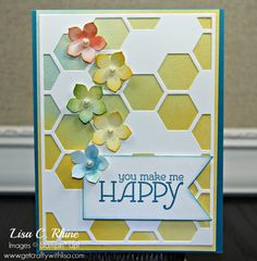 You Make Me Happy - Lisa C. Rhine, For this card I used our fabulous new Hexagon Hive Thinlits Die, Watercolor Wonder Designer Series Paper and Petite Petals Punch.  More details: http://www.getcraftywithlisa.com/2014/01/flower-fun-part-2.html