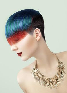 From red to blue, brilliant and intense colors are what Calista Coiffure features in these powerful hairstyles for a woman in charge. Neon pink and el. Creative Hairstyles, Cool Hairstyles, Competition Hair, Men Hair Color, Corte Y Color, Fantasy Hair, Coloured Hair, Hair Shows, Wild Hair
