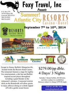 Our 3 Day, 2 Night trip to Resorts Hotel and Casino in Atlantic City is setting out soon and space is running out!