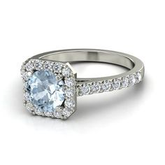 Round Aquamarine 14K White Gold Ring with Diamond   Adele Ring   Gemvara-love this ring. My fav stone in a beautiful classical setting.