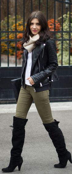 over the knee boots, kakhi skinny, cream sweater, cream infinity scarf, black leather jacket
