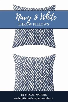 Boho Herringbone Pattern, Navy Blue and White Throw Pillow by meganmorrisart Navy Blue Throw Pillows, Blue And White Pillows, White Throws, Navy And White, Dark Blue, Light Blue, Herringbone Pattern, Bedroom Decor, Couch