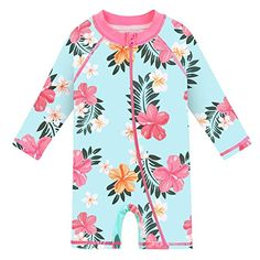 i play Girls 1pc Ruffle Swimsuit with Built-in Reusable Absorbent Swim Diaper 18mo Aqua Paradise Flower