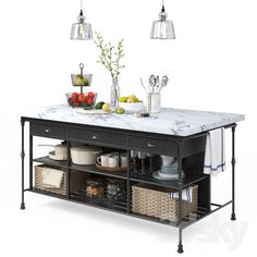 models: Other kitchen accessories - Kitchen decor set - Crate and barrel Curved Kitchen Island, Kitchen Island With Stove, Industrial Kitchen Island, Portable Kitchen Island, Kitchen Island Decor, Kitchen Furniture, Kitchen Interior, Kitchen Design, Kitchen Decor Sets