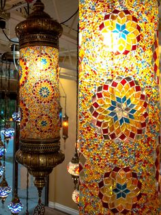 Mosaic Cylinder Floor Lamps