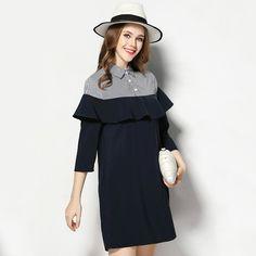 Women Plus Size Spliced Ruffle Dress Spring Casual Shirt Dresses xl to 4xl 5xl