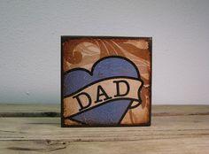 Tattoo Dad Heart Art Block Painting  MatchBlox1681 by MatchBlox, $29.00