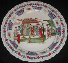 ANTIQUE CHINESE PORCELAIN HAND PAINTED HUGE PLATE CHARGER, KANG-XI MARK, NR