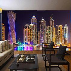 3D Dubai City Night View Wall Mural - 1 ㎡