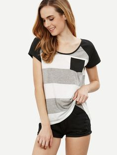Shop Multicolor Striped Short Sleeve T-shirt online. SheIn offers Multicolor Striped Short Sleeve T-shirt & more to fit your fashionable needs. Beautiful Blouses, Beautiful Outfits, Camisa Polo, Blouse Outfit, Casual T Shirts, Blouses For Women, Clothes, Cotton Tee, Striped Sweaters