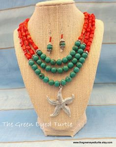 Multi Strand Turquoise Jasper and Real Coral by TheGreenEyedTurtle, $40.00