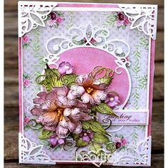 Pretty Pink Peonies Handmade Card - has been created with the Sweet Peony Collection along with several others from Heartfelt Creations. Paper flowers and elegant die cutting create a feminine and delicate papercrafting project ideal for any occasion! #HeartfeltCreations #thinkingofyou #anyoccasioncard #papercrafting #paperflowers #diy #handmadecard #crafting #cardmaking #scrapbooking #makeandcreate #happymail