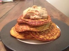 Pumpkin Protein Pancakes with Peanut Butter Fluff. Fat Burning Pancakes, heck ya
