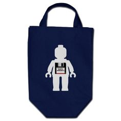 White Minifig with Floppy Disk Minifig Version 1.1 Tote Bag