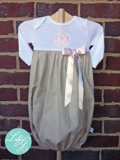 Lila & G Linen Baby Girl Gown....Linen Onsie Gown in Long or Short Sleeves with Monogram....Baby gift, coming home gown, or anytime outfit. $36.00, via Etsy.