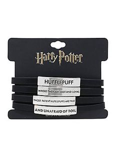 """Wrap bracelet from Harry Potter featuring black faux leather straps with engraved metal nameplates that read """"Hufflepuff - where they are just and loyal, those patient Hufflepuffs are true, and unafraid of long; Harry Potter Merchandise, Harry Potter Gifts, Harry Potter Characters, Hogwarts Acceptance Letter, Sorting Hat, Engraved Jewelry, Imitation Jewelry, Black Faux Leather, Hufflepuff Pride"""