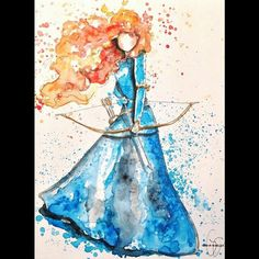 Anyone who knows me knows that my favorite Disney character is Merida. She's brave, she's Scottish, she can do anything that the boys can do, and she has glorious, wild red hair. Disney Kunst, Arte Disney, Disney Magic, Disney Art, Watercolor Disney, Watercolor Paintings, Painting Art, Watercolors, Disney Drawings